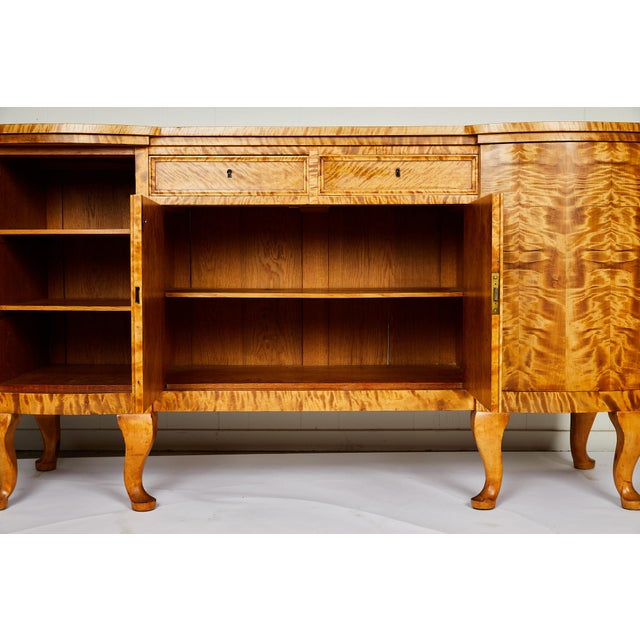 Swedish Art Deco Sideboard of Bookmatched Golden Flame Birch For Sale - Image 9 of 13
