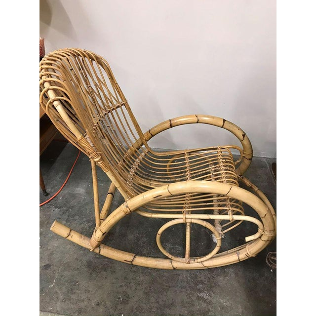 Mid-Century Modern 1960s Franco Albini Rattan Bamboo Rocking Chair For Sale - Image 3 of 11