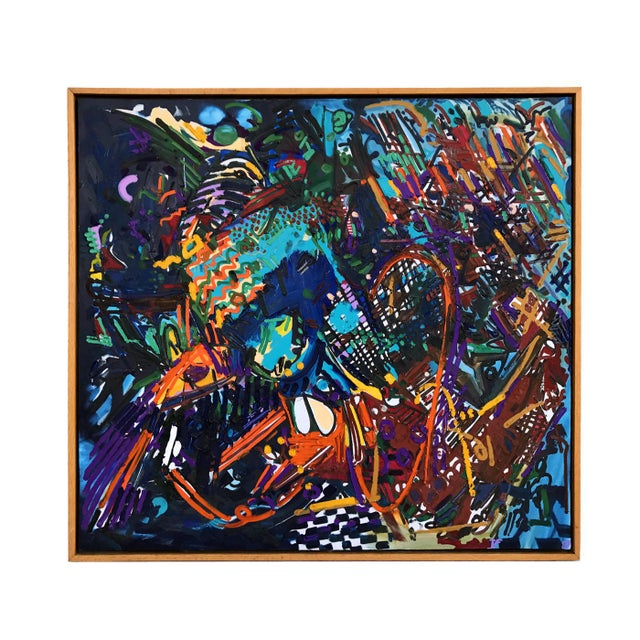Original large scale abstract acrylic on canvas painting signed TF (Thomas Farnam) and dated 1987. Purchased from a Palm...