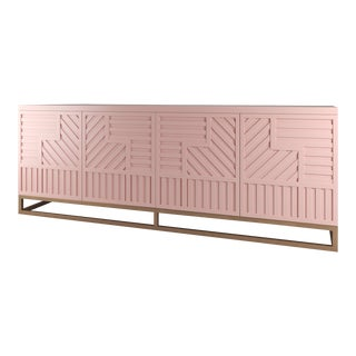 Stria Credenza - Brushed Brass Base, Coral Dust For Sale