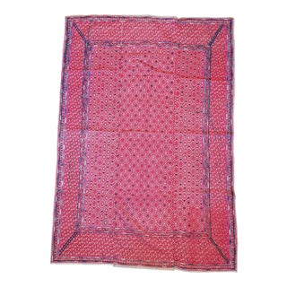 Hand Embroidered Hill Tribe Silk Rug For Sale