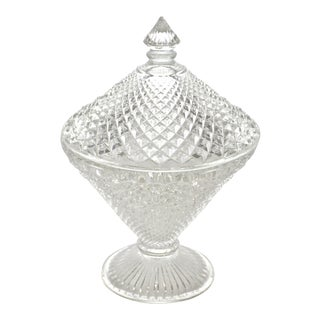 Diamond Hobnail Lidded Pedestal Bowl For Sale