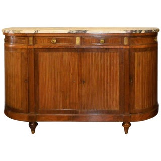 Louis XVI Style Mahogany, Drum Style Buffet With Original Thick Marble Top. For Sale