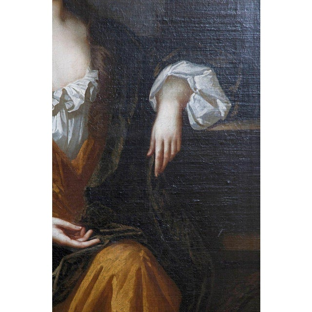 Canvas 18th Century English Portrait of Mrs. Overbury Circle of Sir Godfrey Kneller For Sale - Image 7 of 13