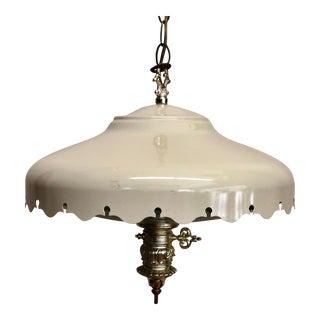 1960s Pie Crust Cut Cream Enamel Hanging Ceiling Lamp For Sale