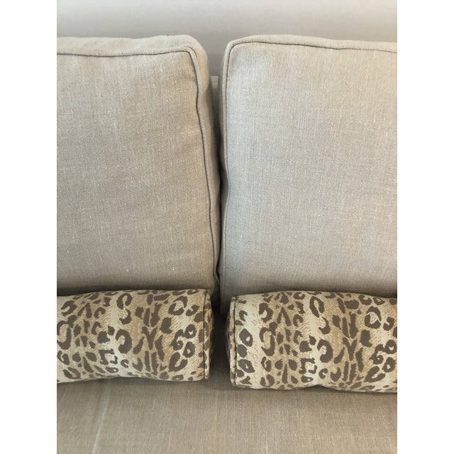 2010s Lee Industries Down FIlled Belgain Linen Sofa For Sale - Image 5 of 13
