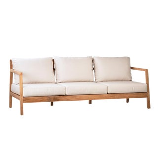Outdoor Teak Sofa W/Cushions For Sale