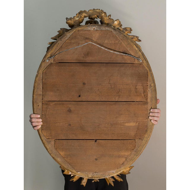 Antique French Louis XVI Style Oval Mirror circa 1890 - Image 8 of 8