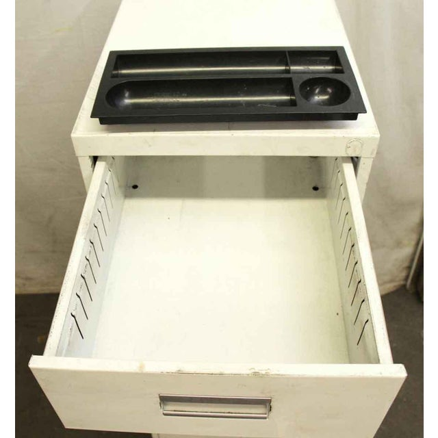 Stackable White Metal Filing Cabinet For Sale - Image 9 of 9