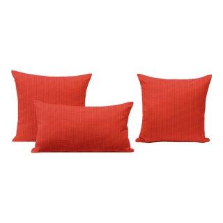 Papaya Outdoor Throw Pillows - Set of 3 For Sale