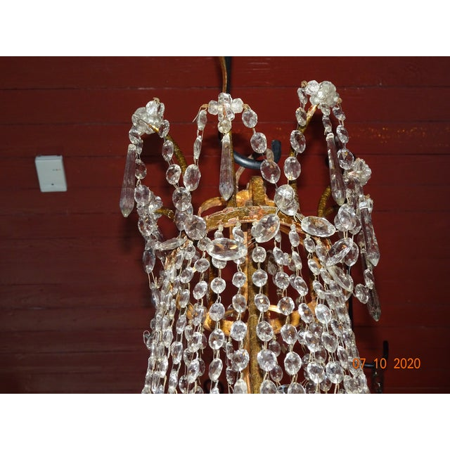 Transparent 19th Century Italian Crystal and Iron Chandelier For Sale - Image 8 of 13