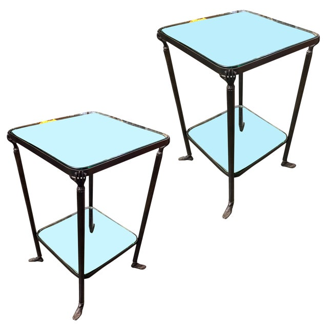 Bronze Hand and Foot Glass Top Gueridon Side Tables - a Pair For Sale