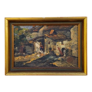 "1946 Armeno Mattioli ""Country House at Night"" Italian Painting For Sale"