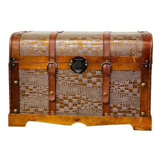 Victorian Style Round Top Cedar Trunk For Sale