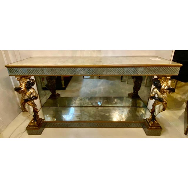 1920s Hollywood Regency Jansen Figural & Eglomise Console Table. Serving / Sideboard For Sale - Image 5 of 12