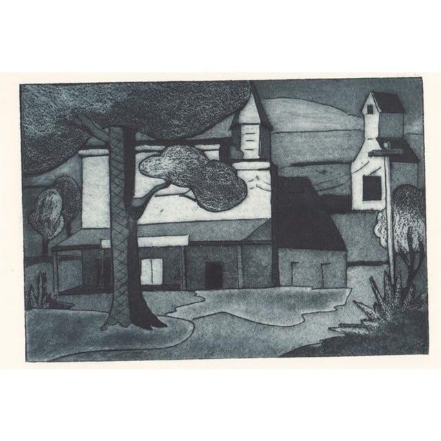 1930s Cityscape Architectural Aquatint Etching For Sale - Image 4 of 4