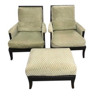 Baker Furniture McGuire San Francisco Umbria Lounge Chair Set For Sale