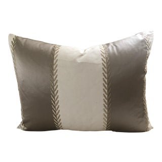 "Manuel Canovas Deep Taupe/Cream Stripe Goose Down Insert Pillow 24.5"" X 19"" For Sale"