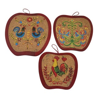 Mid-Century Cork Rooster Hot Pads - Set of 3 For Sale