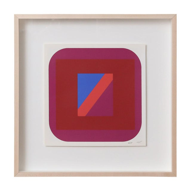 Nine Framed Pfahler serigraphs (silk-screen on paper), from a series of geometric abstractions by Georg Karl Pfahler...