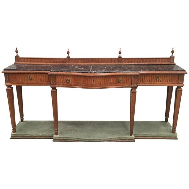 20th Century Louis XVI Style Neoclassical Console Table With Three Drawers For Sale - Image 13 of 13