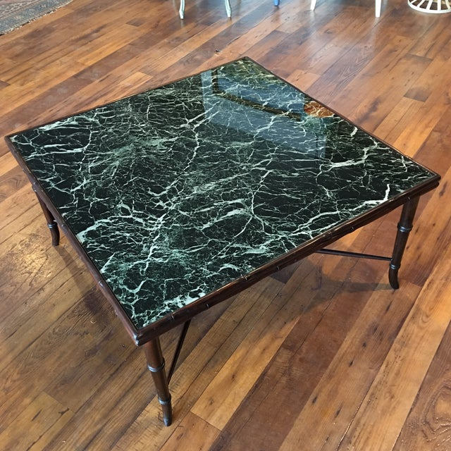 Mid-Century Regency Faux Bamboo Marbled Table - Image 4 of 8