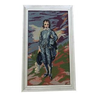 Vintage Framed Needlepoint of Blue Boy For Sale