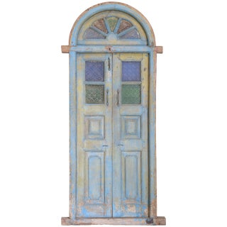Early 19th Century Teak Wood and Sculptured Glass Window For Sale