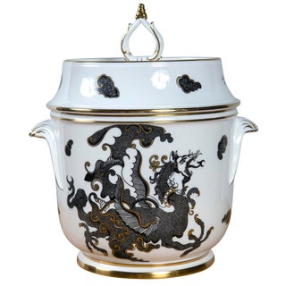 Royal Worcester Bone China Ice Bucket With Black Dragon Circa 1970 For Sale