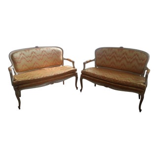 French Flame Stitch Settees - A Pair For Sale
