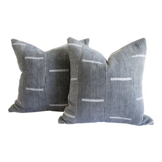Vintage Mud Cloth Pillow in Gray Blue With Light Gray Stripes For Sale