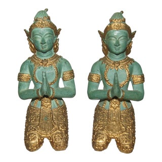 Thai Gilt Bronze Kneeling Praying Statues - a Pair For Sale