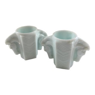 Art Deco Horse Head Milk Glass Vases - A Pair For Sale
