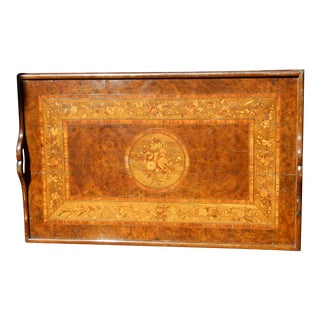 19th C. English Inlayed Marquetry Butler Tray For Sale