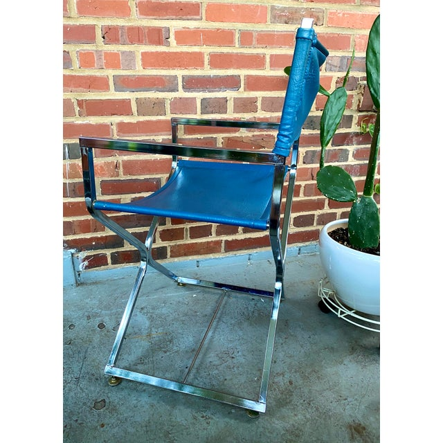 Vintage Blue and Chrome Milo Baughman Director's Chair For Sale - Image 9 of 11
