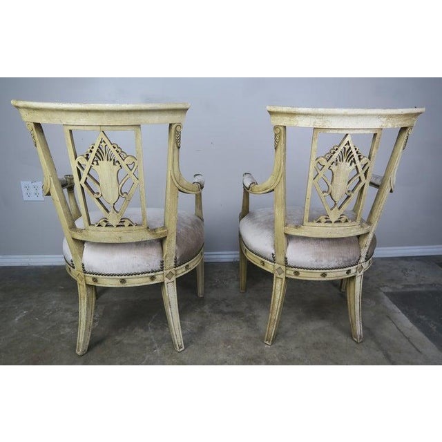 Pair of 1930s Italian Neoclassical Painted Armchairs W/ Urns For Sale - Image 4 of 12