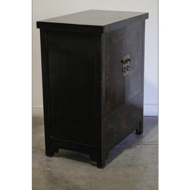 Chinese Late 20th Century Black Lacquer and Gilt Painted Cabinet For Sale - Image 3 of 11