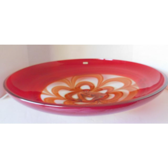 Evolution by Waterford Red Art Glass Round Platter For Sale - Image 9 of 12