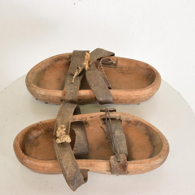 Antique Japanese Decorative Wood Gardening Shoes - a Pair For Sale - Image 4 of 8