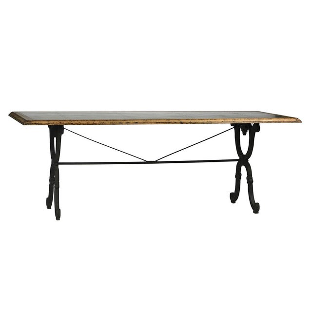 Industrial Zinc Top With Cast Iron Dining Table For Sale - Image 3 of 3