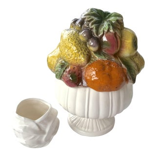 Vintage Italian Majolica Hand-Painted Fruit Urn & Cabbage Leaf Vase - a Pair For Sale