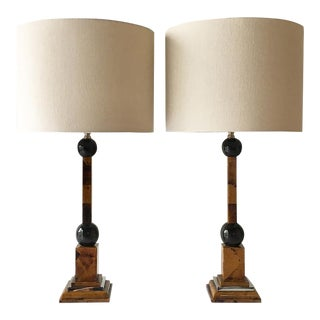 Maitland Smith Shell Veneered Table Lamps 1970s For Sale