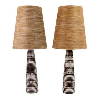Pair of Lotte and Gunnar Bostlund Pottery Lamps For Sale