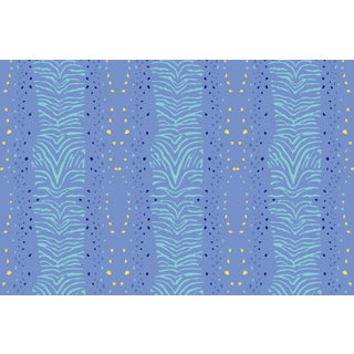 Zebra Palace Blue Linen Cotton Fabric, 3 Yards For Sale