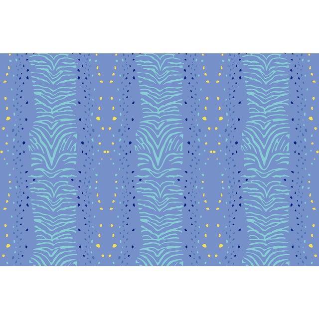 Zebra Palace Blue Linen Cotton Fabric, 3 Yards For Sale