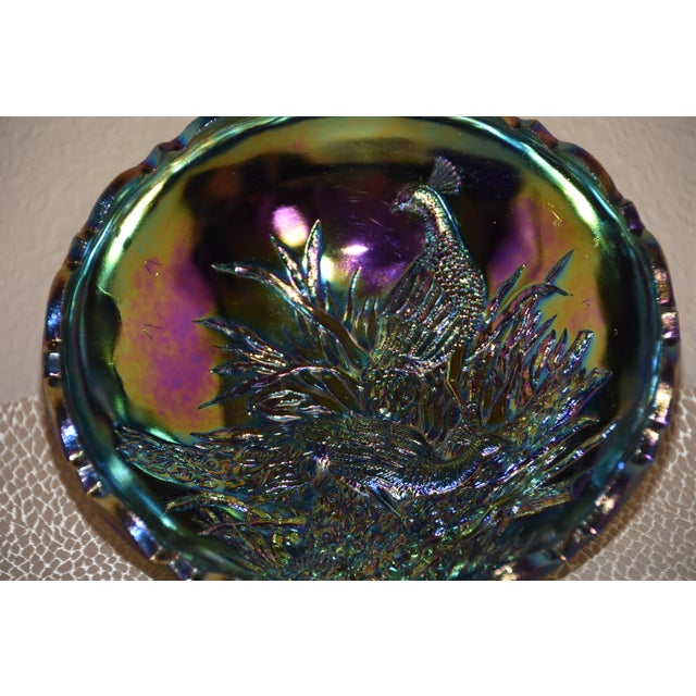 Wright Amethyst Peacocks With Butterfly Back Carnival Glass Bowl For Sale - Image 10 of 11