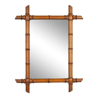 Antique French Faux Bamboo Mirror For Sale