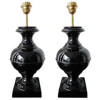 Pair of Mid-Century Black Ceramic Lamps For Sale