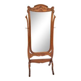 Antique Oak Cheval Full Length Dressing Bedroom Mirror Restored For Sale