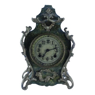 Boulle Mantel Clock ' Pattern' Marble/ Wood & Gilded Bronze For Sale
